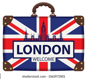 Vector travel banner with suitcase in colors of british flag with the Big Ben and inscription London welcome