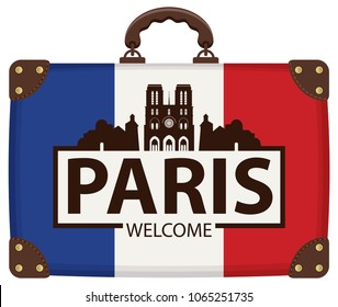 Vector travel banner with suitcase in colors of french flag with the famous Cathedral of Notre Dame de Paris, France. The inscription Paris welcome