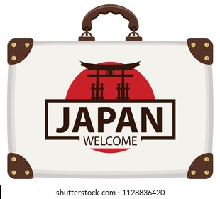 Vector travel banner with suitcase in colors of Japanese flag with the Famous Torii Gate, the ritual gates of Itsukushima Shrine. The inscription Japan welcome