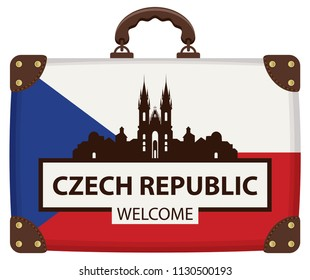 Vector travel banner with suitcase in colors of Czech flag with the famous Church of Our Lady before Tyn in Prague, Czech Republic. The inscription Czech Republic welcome