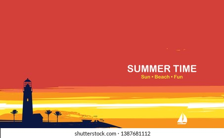 Vector travel banner with tropical seascape and words Summer time. Silhouettes of lighthouse, palm trees and white sailboat in the sea at sunset or sunrise. Summer poster, flyer, invitation or card