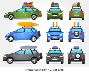 Vector Travel Cars - Side - Front - Back view