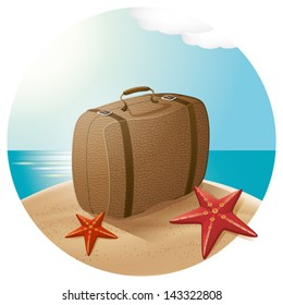 Vector travel concept. Suitcase at the beach with the sea stars