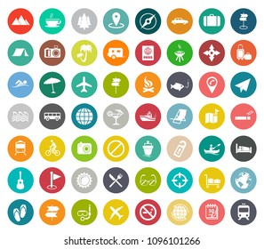 vector travel icons, hotel, vacation and tourism icons