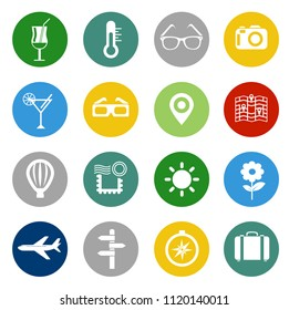 vector travel icons, vacation and tourism symbols. hotel service icons