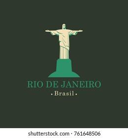 Vector travel illustration, banner or logo. The statue of Christ the Redeemer in Rio de Janeiro, Brazil. Brazilian national religious landmark