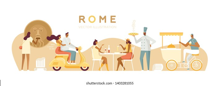 Vector travel illustration for web. Tourists and locals in Rome. Roman holiday. Italians characters. A couple on a scooter, Italian restaurant, bike with ice cream, Mouth of Truth. White, isolated