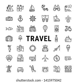 Vector travel line icons: beach, camping, mountains  journey, vacation, cruise and hotel services.