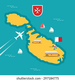 Vector travel map of Malta in flat style