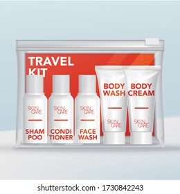 Vector Travel Mini Tubes & Bottles Toiletries Set in Clear Plastic Zip Lock Bag with Orange Backing Card.