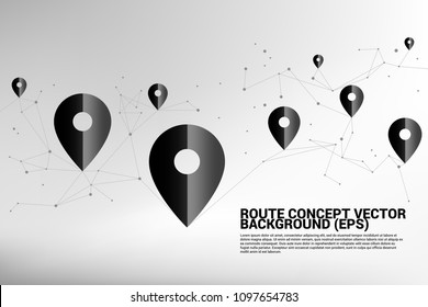 Vector Travel Network Pin mark polygon dot connected line: concept of travel route, location, journey
