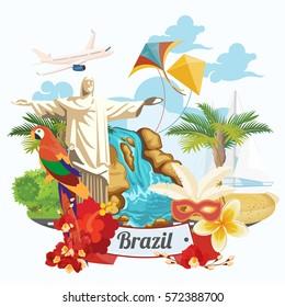 巴西矢量旅游海报与丰富多彩的现代设计, 巴西风景和古迹. 里约热内卢广告卡耶稣雕像. 桑巴的狂欢节。