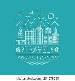 Vector travel poster design template in outline style - landscape with skyscrappers and hand lettering - line icons