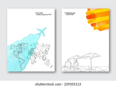 Vector travel poster templates. Hand drawn Watercolor stain background, triangular world map and abstract couple in the beach. Background for summer card, brochure and banner design.