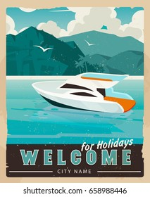 Vector Travel Poster in vintage style. Retro voyage illustration for advertising. Beautiful paradise cove with palm trees, ridge mountains, sea with boat.Travel poster water transport rent, template.