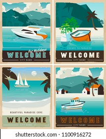 Vector Travel Posters vintage style. Retro voyage illustrations for advertising. Beautiful paradise cover with palm trees, ridge mountains, sea with boat.Travel poster water transport rent, template