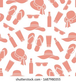 Vector travel seamless pattern Illustration with flip flops, sunscreen, sun hat, sunglasses. Summer time, vacation, holiday, leisure background Concept for travel agency Design wrapping, fabric, print