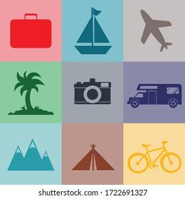 Vector Travel Set Icon Logo