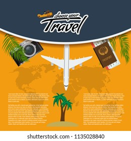 Vector Travel and Tour creative Poster Design with realistic airplane, world map, passport and air tickets with palm tree leaf.