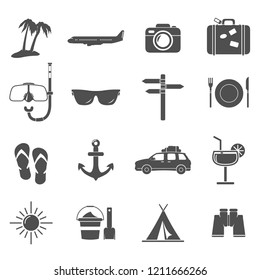 Vector Travel Vacation Icon set Illustration silhouette.