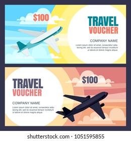 Vector travel voucher template. 3d isometric illustration of flying airplane. Day and night flight. Concept for vacation, travel agency, sale ticket. Banner, coupon, certificate, flyer, ticket layout
