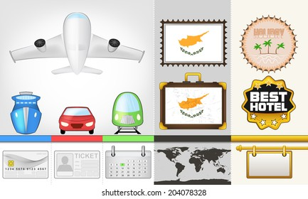vector traveling and transport collection as trip to Cyprus illustration