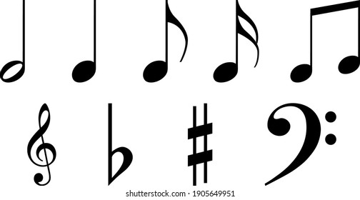 Vector treble clef and notes made in the same style, monochrome black