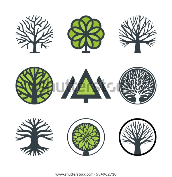 Vector tree, fir-tree, wood, oak. Set of logo design elements, badges, labels and logotype templates for your business
