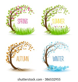 Vector tree in four seasons - spring, summer, autumn, winter