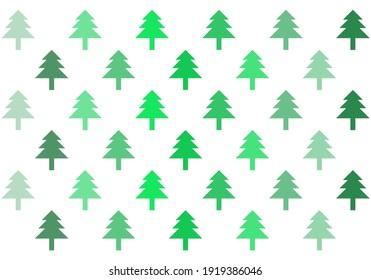 Vector tree with green gradation zig zag position