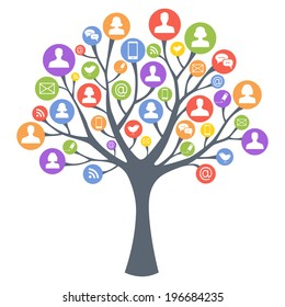A vector tree with human man and woman silhouettes instead of leaves. Concept of social network, teamwork and connection.