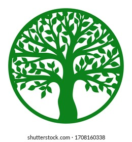 Vector tree of life in a round frame. Green trunk, branches and leaves. Design element for plotter cutting, paper cut, plywood, cardboard, metal engraving, wood carving, printing.