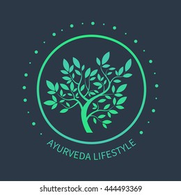 Vector tree logo. Ayurvedic symbol on dark beckground. Ayurveda emblem for alternative spa design