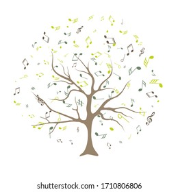 vector tree with musical notes. vector illustration of tree with musical notes for audio media concepts and designs Musical Tree. Vector