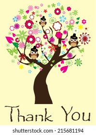 vector tree with owls, flowers, leaves thank you card