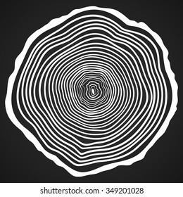 Vector Tree Rings Background and Saw Cut Tree Trunk. Conceptual Graphics. Vector illustration on dark background.