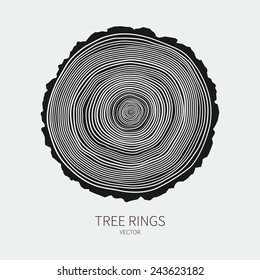 Vector tree rings and saw cut tree trunk conceptual background