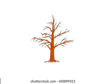 vector tree without leaves oak isolated outline illustration