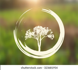 Vector Tree and Zen Circle Illustration on Natural Background