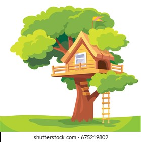 Vector tree-house isolated on white