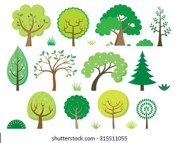 Vector trees, bushes and grass