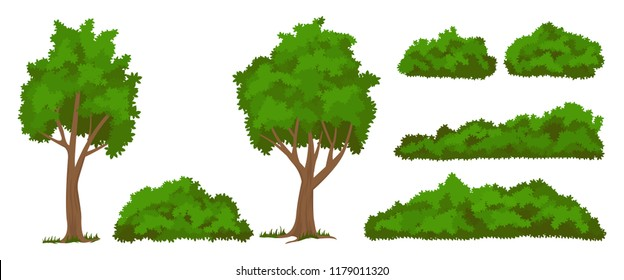 Vector trees and bushes set Isolated on white baskground