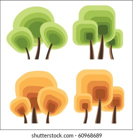 Vector trees on a white background