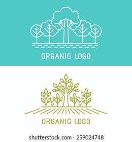 Vector trees and parks logo design elements in linear style - abstract landscapes and nature concepts
