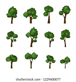 Vector trees set Isolated on white background