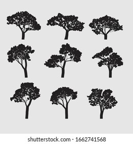 Vector trees in silhouettes vector