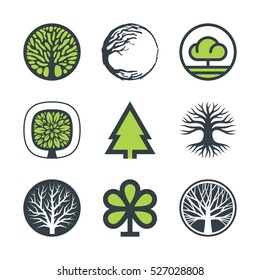 Vector trees with stylized green leaves, branches and roots. Set of nine icons and logo design elements isolated on white background.
