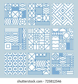 Vector trendy abstract seamless patterns in modern minimal style with geometric shapes and stripes - design templates for packaging, banners, prints, stationery and posters in white and blue colors