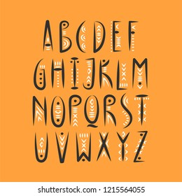 Vector trendy alphabet in pagan style.