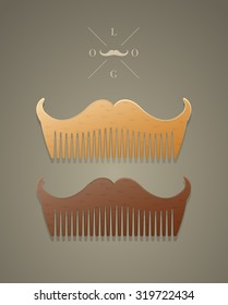 Vector trendy comb in shape of mustaches, hipster style